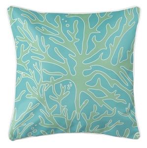 Sea Coral Coastal Pillow - Light Green, Light Blue