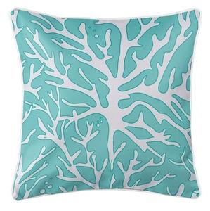 Sea Coral Coastal Pillow - White, Light Blue