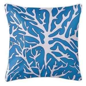 Sea Coral Coastal Pillow - White, Blue