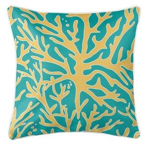 Sea Coral Coastal Pillow - Yellow, Aqua