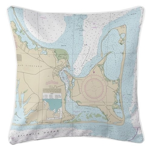 Edgartown, Chappaquiddick Island, MA Nautical Chart Pillow