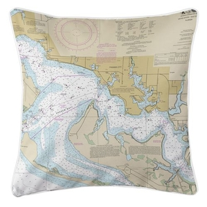 Panama City, St. Andrew Bay, FL Nautical Chart Pillow