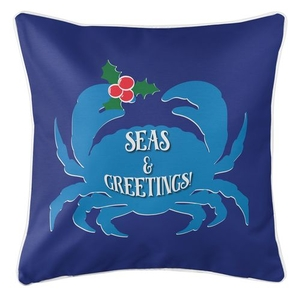 Seas & Greetings Crab Christmas Coastal Pillow - Dark Blue