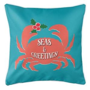 Seas & Greetings Crab Christmas Coastal Pillow - Light Turquoise, Coral