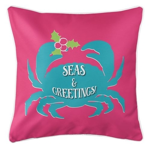 Seas & Greetings Crab Christmas Coastal Pillow - Pink, Light Turquoise