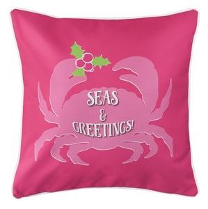 Seas & Greetings Crab Christmas Coastal Pillow - Pink