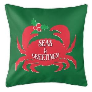 Seas & Greetings Crab Christmas Coastal Pillow - Red on Green