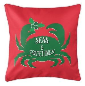 Seas & Greetings Crab Christmas Coastal Pillow - Green on Red