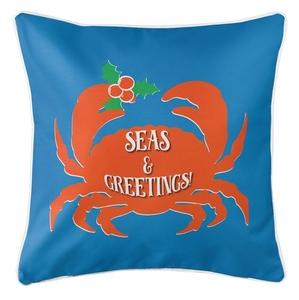 Seas & Greetings Crab Christmas Coastal Pillow - Blue, Orange