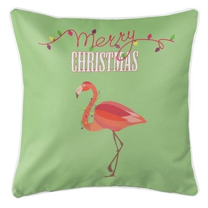 Flamingo Christmas Coastal Pillow - Light Green