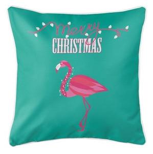 Flamingo Christmas Coastal Pillow - Aqua