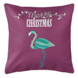 Flamingo Christmas Coastal Pillow - Plum