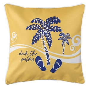 Deck the Palms Coastal Pillow - Blue on Yellow