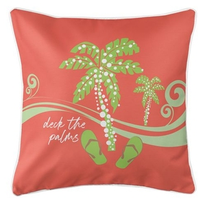 Deck the Palms Coastal Pillow - Lime on Coral
