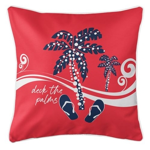 Deck the Palms Coastal Pillow - Navy on Red