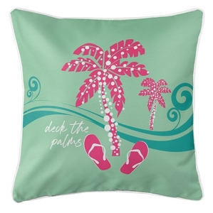 Deck the Palms Coastal Pillow - Pink on Mint