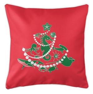 Sea Life Christmas Tree Coastal Pillow - Green on Red