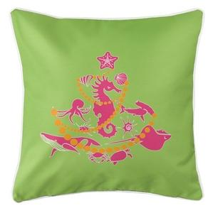 Sea Life Christmas Tree Coastal Pillow - Pink on Lime