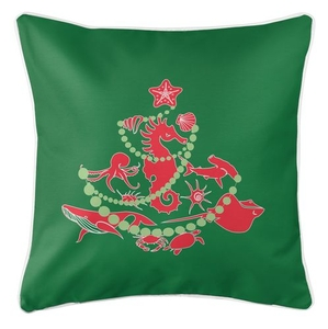 Sea Life Christmas Tree Coastal Pillow - Red on Green