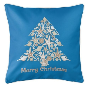 Seashell Christmas Tree Coastal Pillow - Blue