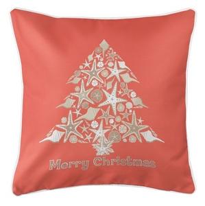 Seashell Christmas Tree Coastal Pillow - Coral