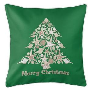 Seashell Christmas Tree Coastal Pillow - Green