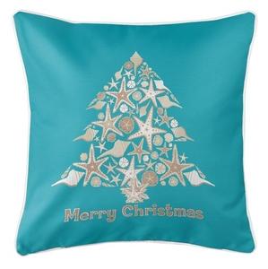 Seashell Christmas Tree Coastal Pillow - Light Turquoise