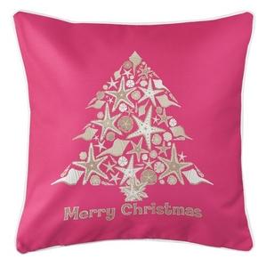 Seashell Christmas Tree Coastal Pillow - Pink