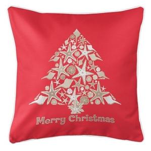 Seashell Christmas Tree Coastal Pillow - Red
