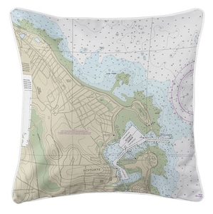 Scituate Harbor, MA Nautical Chart Pillow