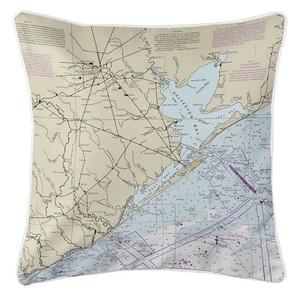 Houston, Galveston Bay, TX Nautical Chart Pillow