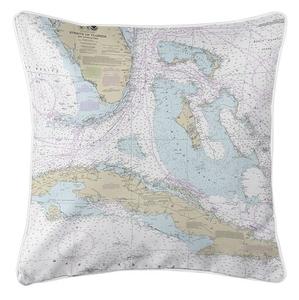 Straits of Florida Nautical Chart Pillow
