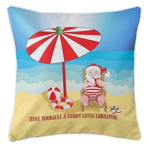 Beach Santa Christmas Coastal Pillow