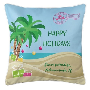 """Personalized """"Happy Holidays"""" Tropical Coastal Pillow"""