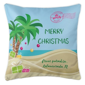 """Personalized """"Merry Christmas"""" Tropical Coastal Pillow"""