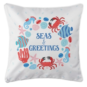 Ocean Drifters Christmas Coastal Pillow