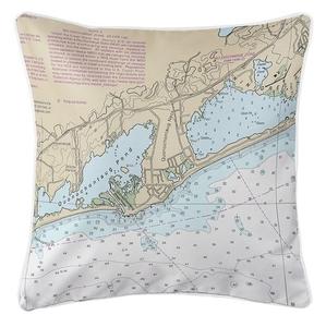Quonochontaug, RI Nautical Chart Pillow