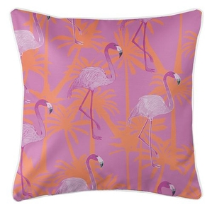 Pink Flamingos Coastal Pillow