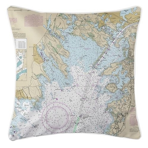 Marion, Wareham, Buzzards Bay, MA Nautical Chart Pillow