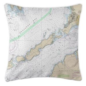 Naushon Island, MA Nautical Chart Pillow