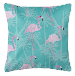 Pink Flamingos on Aqua Coastal Pillow