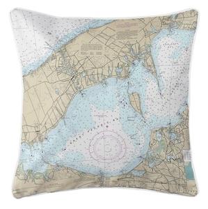 Mattituck, Great Peconic Bay, NY Nautical Chart Pillow