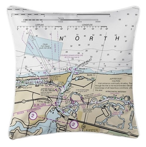 Jupiter Inlet, FL Nautical Chart Pillow