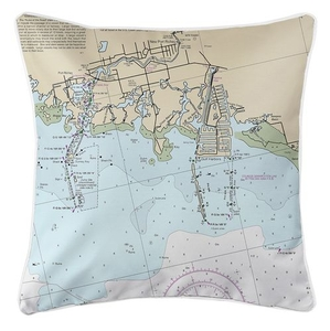 New Port Richey, FL Nautical Chart Pillow