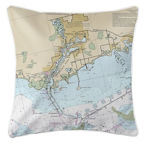 Tarpon Springs, FL Nautical Chart Pillow