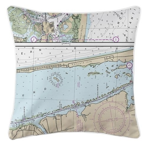 Emerald Isle, NC Nautical Chart Pillow