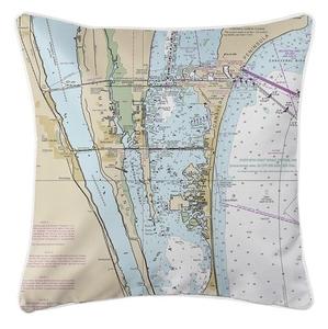 Cocoa, Merritt Island, Canaveral, Cocoa Beach, FL Nautical Chart Pillow