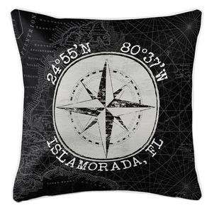 Custom Coordinates Vintage Compass Rose Coastal Pillow - Black
