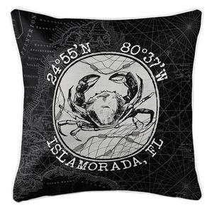 Custom Coordinates Vintage Crab Coastal Pillow - Black