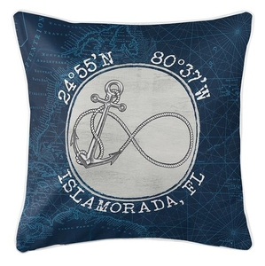 Custom Coordinates Vintage Infinity Anchor Coastal Pillow - Navy
